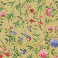 Gold Chinese wallpaper Floral Caspari luxury paper table napkins 20 pack 33cm