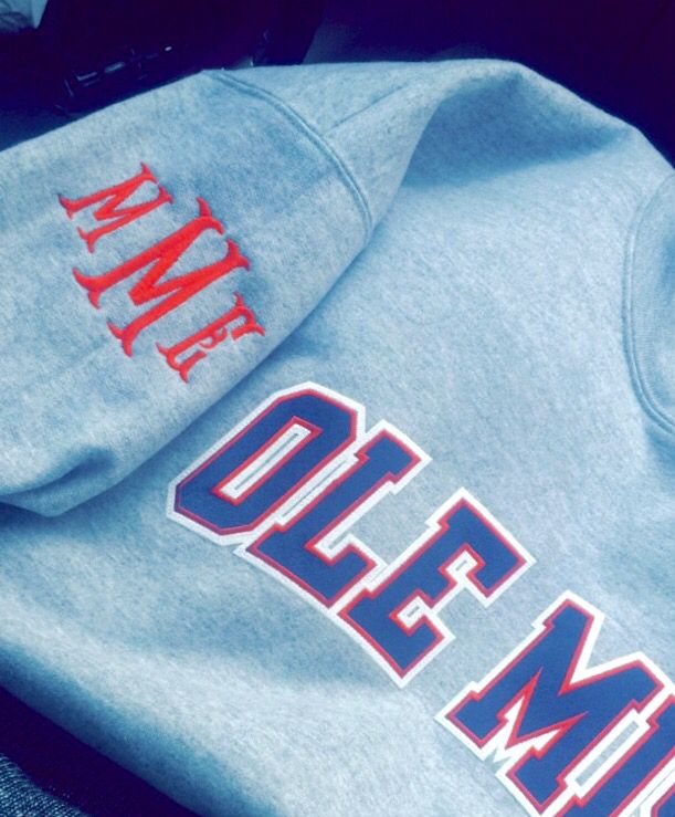Love this Ole Miss sweatshirt with monogrammed sleeve! I will totally get one of these, just with a different college!!!