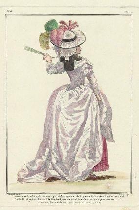 """""""Jeune Dame habillée de la maniere la plus élégante, ayant l'air de guéter l'instant d'un Rendez-vous qui l'intéresse: elle est en chapeau à la Blanchard, grande robe à la Musulmane, le chignon très bas"""", Gallerie des Modes, 1784; MFA 44.1596"""