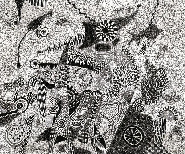 Αλέξης Ακριθάκης, Le Roi, 1966, τσίκι-τσίκι με μελάνι σε χαρτί, 34 x 41 εκ.   Alexis Akrithakis, Le Roi, 1966, ink on paper