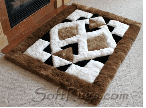 Alpaca Wool Carpet For Home Decoration In Geometric Form