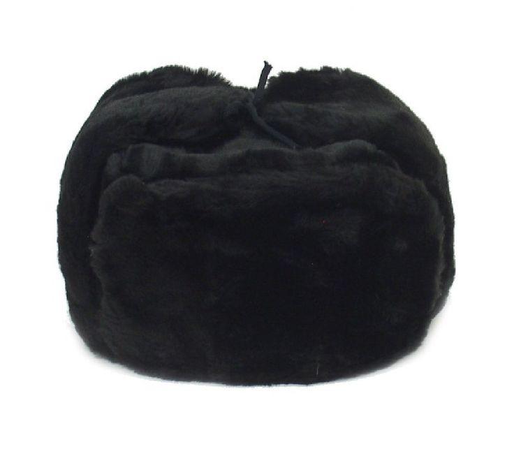 Ushanka Russian Winter Hat Size Xl (Metric 62) Black