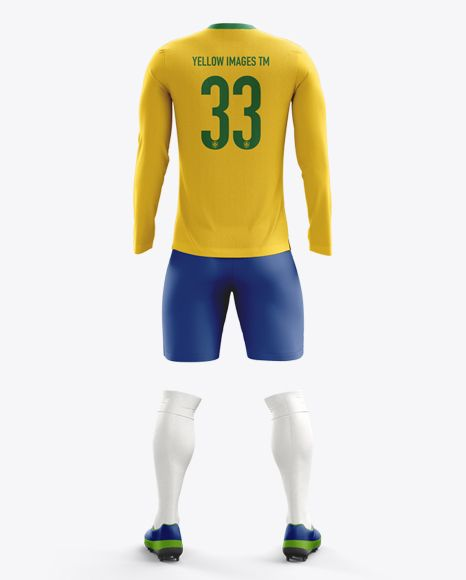 Soccer Kit With Long Sleeve Mockup / Back View. Preview