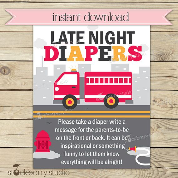 Firetruck Baby Shower Late Night Diaper Game Printable   Boy Baby Shower  Diaper Thoughts Message Game   Instant Download   Baby Shower Games.  Firefighter ...