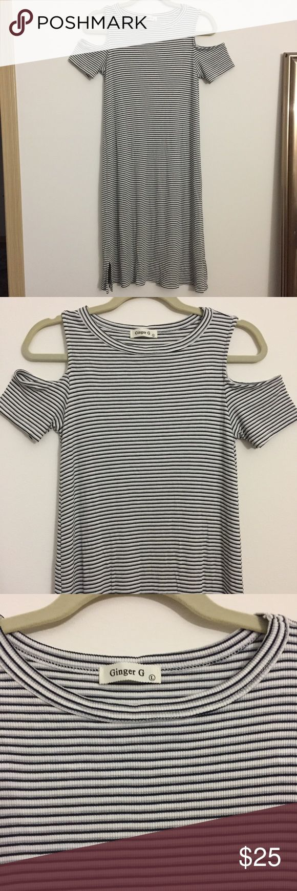 Open Shoulder Black White Striped Bodycon Dress Previously loved, cute stretchy open Shoulder dress. This material is so comfy and easy to clean. Ginger G Dresses Midi