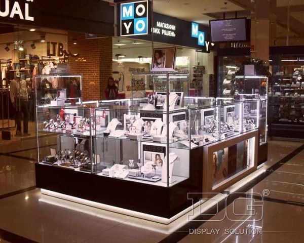 Coloured lighting coming through again. JK01 Shopping Mall Lighted Wooden Temper Glass Jewelry Kiosk