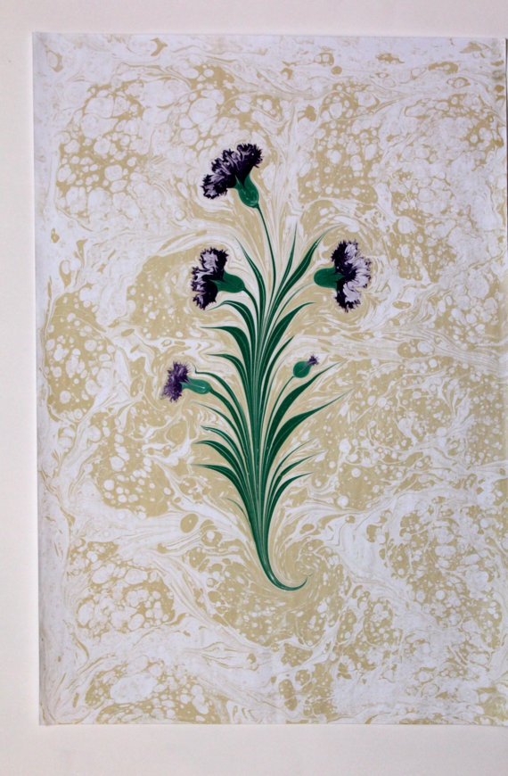 Original HandmadeTraditional Turkish Art of Marbled Paper - Ebru - Purple Carnation Flowers