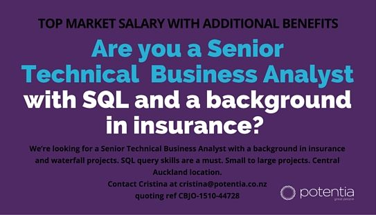 Are you a Senior Technical Business Analyst with SQL and a background in insurance? http://www.seek.co.nz/Job/29740275 #ITjobs #BA #Auckland