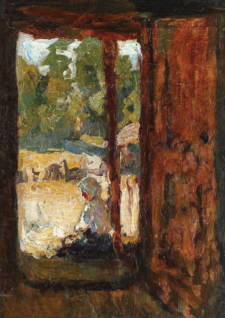 Rudolf Schweitzer-Cumpăna, Țărancă pe prispă - ulei pe pânză, 58 × 42 cm