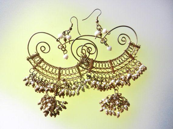 Intricate art  work beaded long earrings  White by RAKcreations