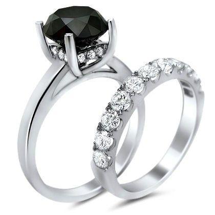 5.0ct Black Diamond Engagement Ring Bridal Set 14k White Gold,Yellow Gold,Rose G