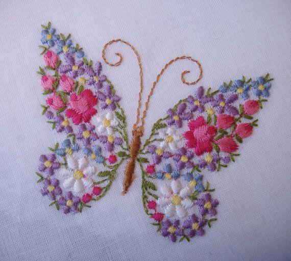 VINTAGE Floral mariposa bordado pañuelo / no usado con