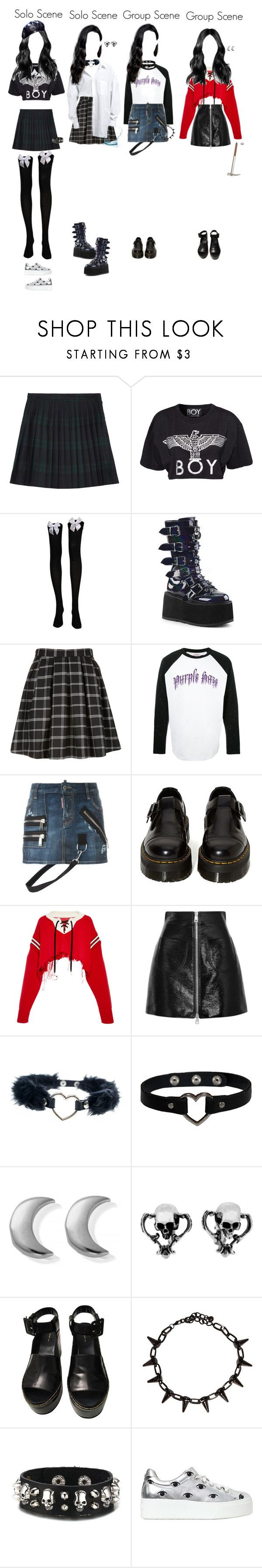 """(Pixels M/V) Nari"" by element-yoso ❤ liked on Polyvore featuring McQ by Alexander McQueen, BOY London, CO, Demonia, Palm Angels, Dsquared2, Dr. Martens, Monse, Sara Battaglia and ChloBo"