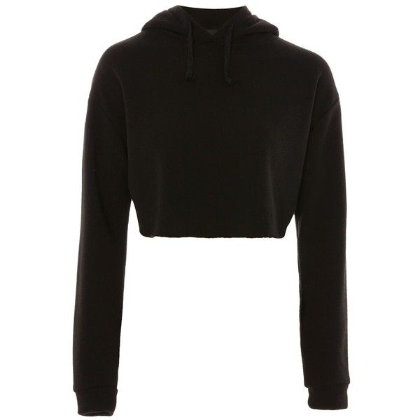 Topshop Petite Cropped Hoodie ($33) ❤ liked on Polyvore featuring tops, hoodies, black, sweatshirt hoodies, cropped hooded sweatshirt, retro tops, hooded sweatshirt and petite hoodie