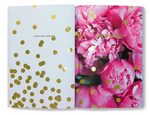 Things We Love booklet comprised of a full-page floral and gold dots to cover spread.
