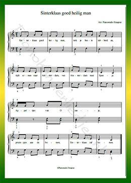 Sinterklaas Goedheiligman - Gratis bladmuziek van kinderliedjes in eenvoudige zetting voor piano. Piano leren spelen met bekende liedjes.