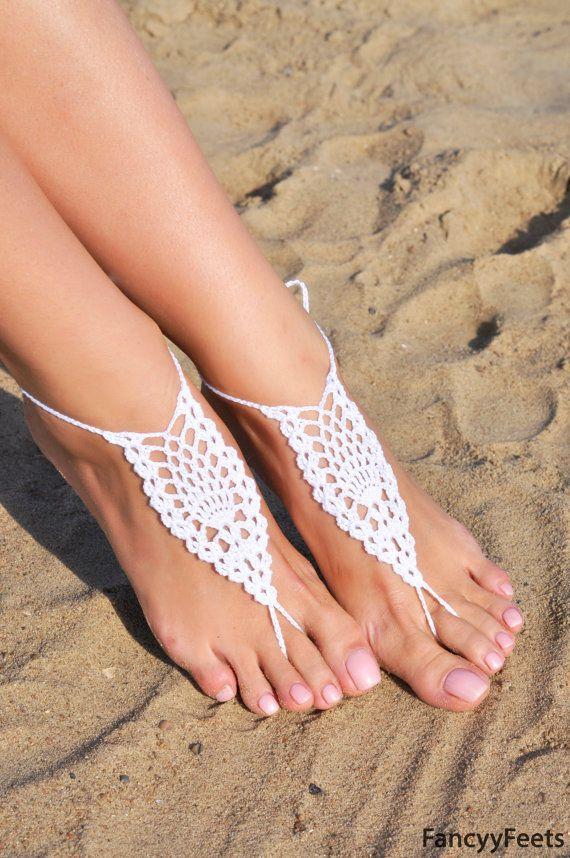 Uncinetto bianco sandali a piedi nudi damigella d'onore