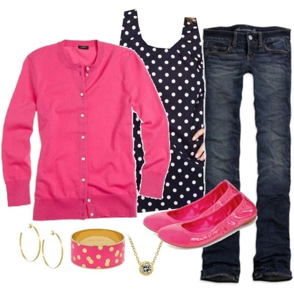 dark wash jeans, blue/white polka dot blouse, pink cardigan, pink flats, gold accessories