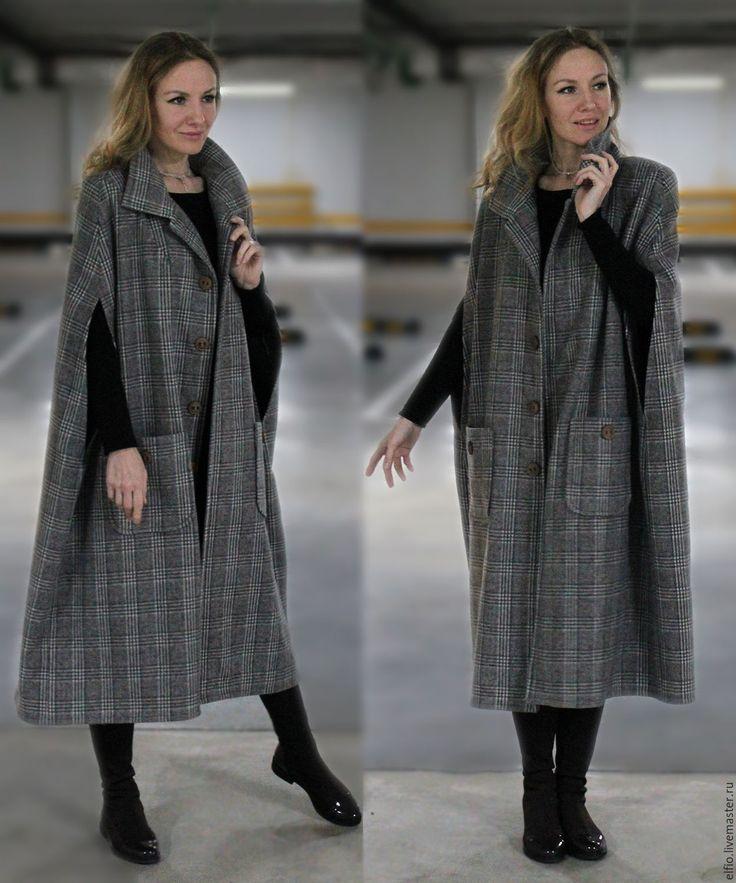 Купить Пальто кейп из шерсти на вискозной подкладке - серый, однотонный, пончо, пальто, одежда для беременных