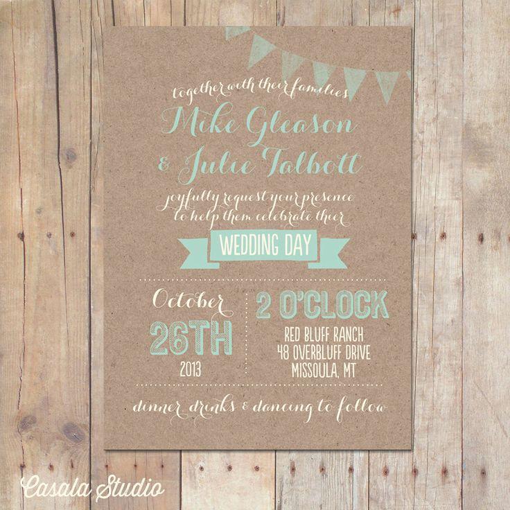 Rustic Kraft Wedding Invitation Mint Peach Bridal by casalastudio, $18.00