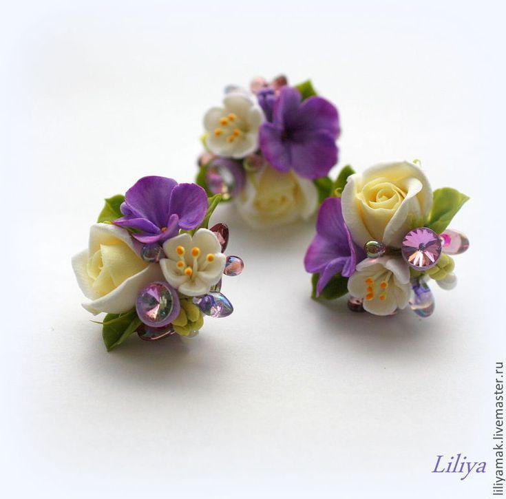 """Купить Серьги с цветами """"Лиловый закат"""" - фиолетовый, цветы ручной работы, серьги с цветами, роза"""