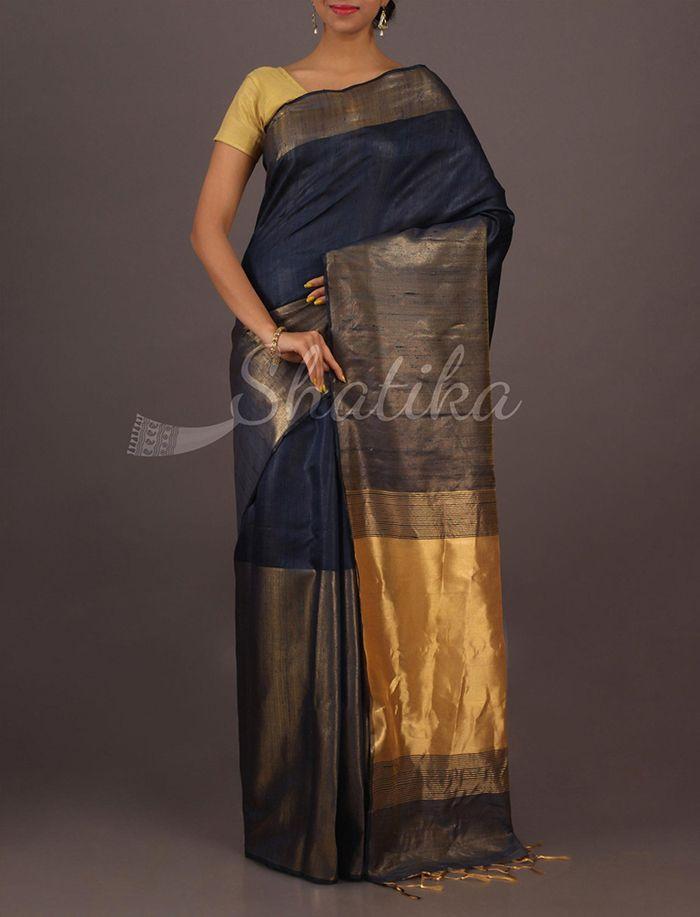 Reshma Attractive Blue Broad Gold Border Plain #MatkaSilkSaree