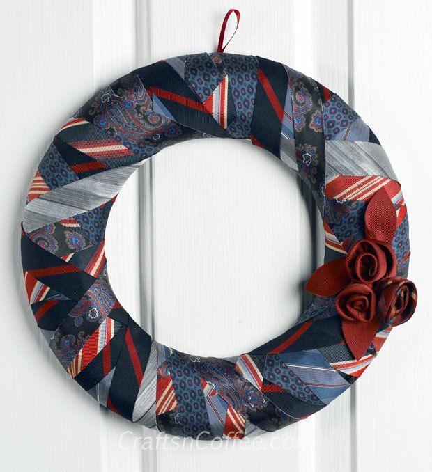 Elegant repurposing: How to make a wreath from old ties. CraftsnCoffee.com.