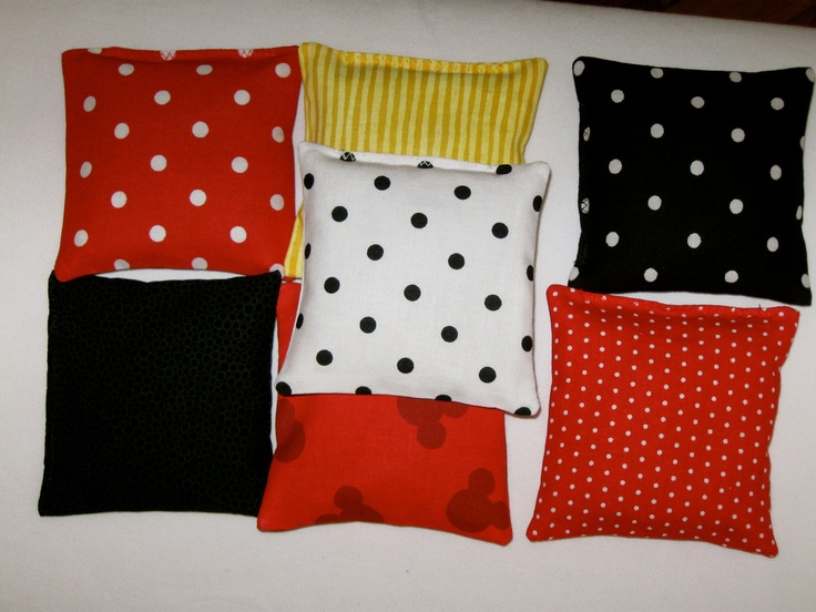 Minnie/Mickey Mouse Bean Bags - Set of 4 - Party Game - Party Favor - Your Choice of 7 Prints - Ready to Ship. $10.00, via Etsy.