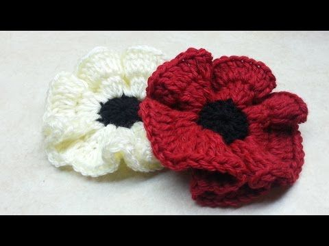 How to #Crochet Easy Poppy Flower #TUTORIAL DIY Crochet Flower, My Crafts and DIY Projects                                                                                                                                                                                 More