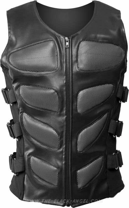 Men's cyber-goth armor by Raven SDL, grey bodice padding and adjustable straps.