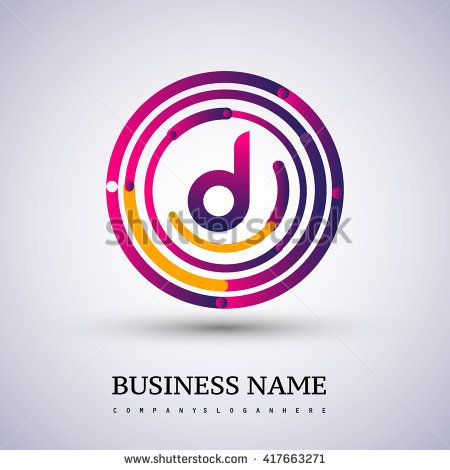 Letter D vector logo symbol in the colorful circle thin line. Vector design template elements for your application or company identity. - stock vector