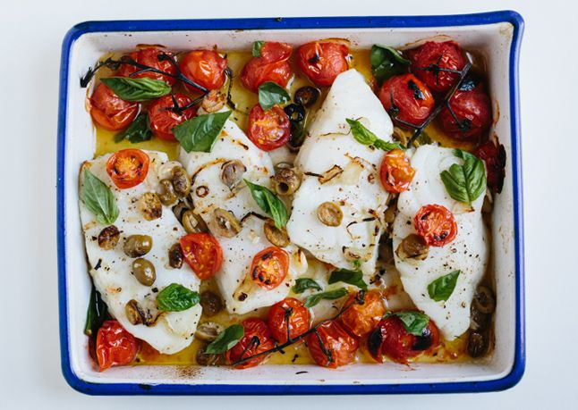 Sea Bass with Cherry Tomatoes When cherry tomatoes are broiled in the oven, they burst and create their own fresh sauce.