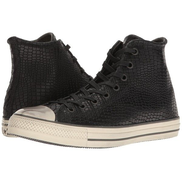 Converse by John Varvatos Chuck Taylor All Star Hi... ($200) ❤ liked on Polyvore featuring shoes, sneakers, black high-top sneakers, star shoes, black shoes, high top trainers and black trainers