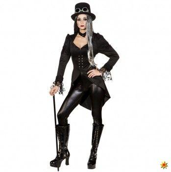Damen Gothic Kurzmantel mit Spitze kaufen