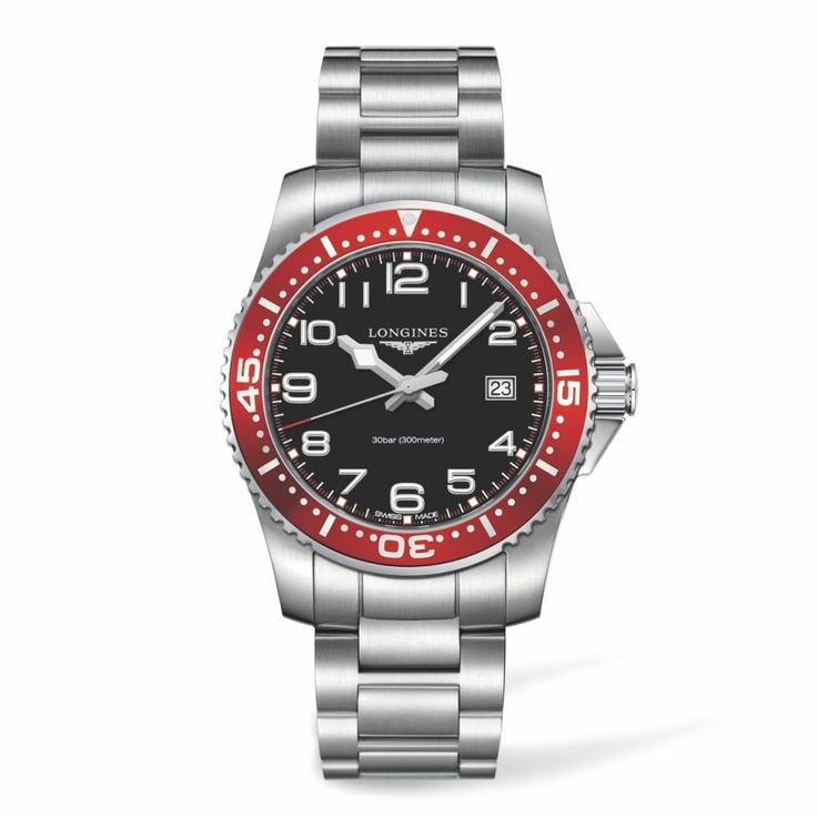 L36894596 Ανδρικό quartz ρολόι LONGINES HydroConquest με μπρασελέ, μαύρο καντράν, κόκκινη στεφάνη & ημερομηνία | Ρολόγια LONGINES ΤΣΑΛΔΑΡΗΣ Χαλάνδρι #hydroconquest #longines #ρολόι
