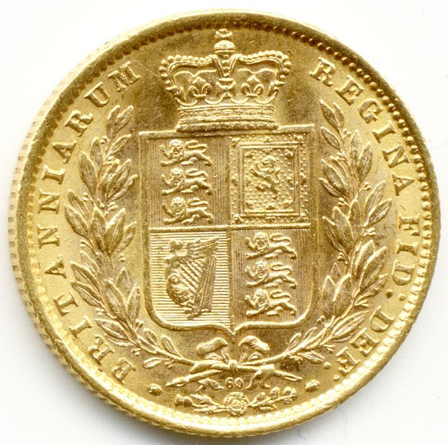 1872 United Kingdom Gold Full Sovereign coin.