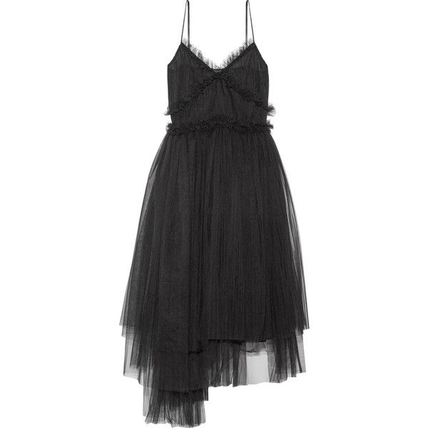 MSGM Pleated tulle midi dress ($1,045) ❤ liked on Polyvore featuring dresses, mid calf dresses, msgm dress, msgm, tulle dresses and lined dress