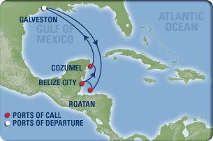 RC - Galveston, Texas; Roatan, Honduras; Belize City, Belize; Cozumel, Mexico; Galveston, Texas