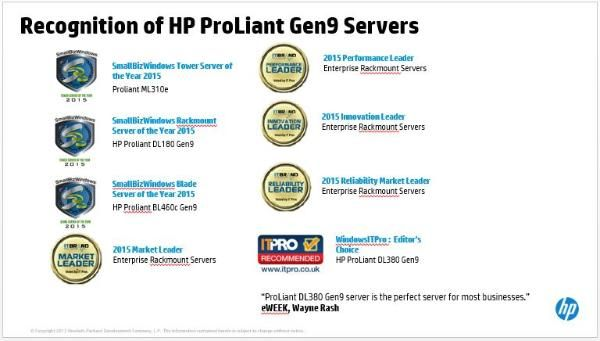 Recognition of HP ProLiant Gen9 Servers. Which ones would be awarded this year 2016?