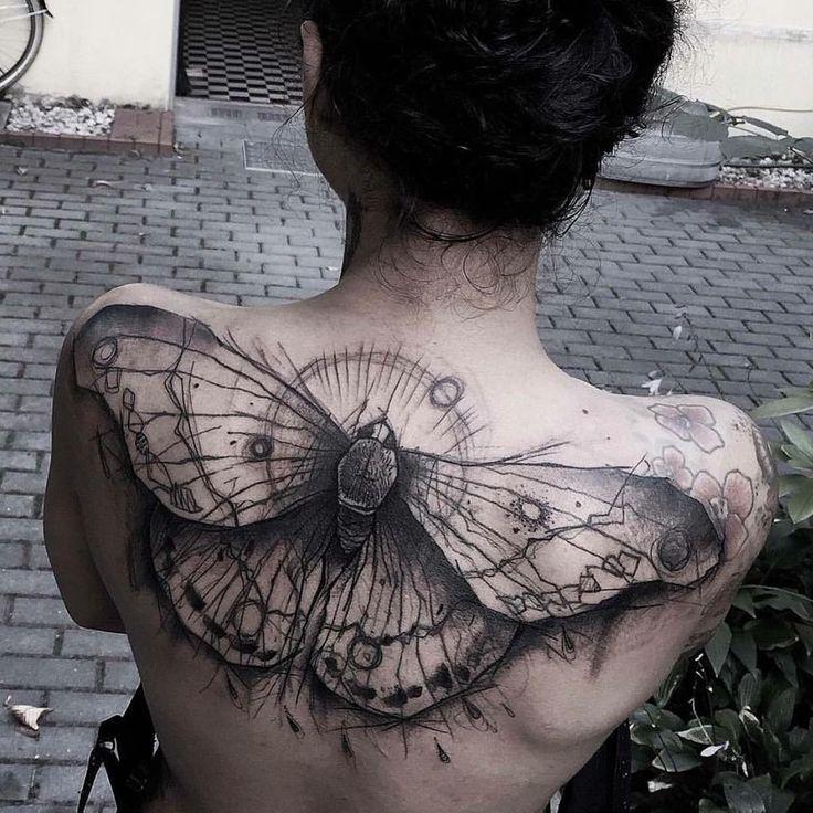 Stylised Moth Upper Back Tattoo  steampunk wing tattoo - Google Search