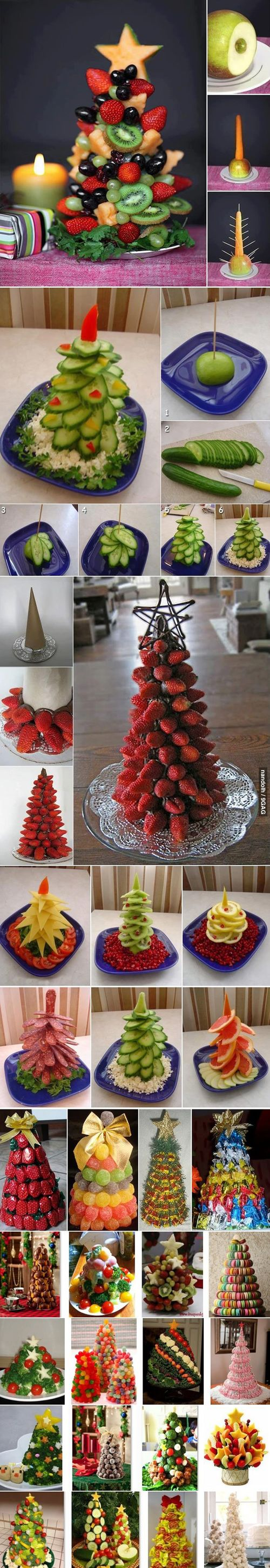 DIY fruit christmas trees, love this idea for a party