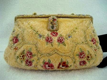 Vintage 1930 French gold beaded embroidered enameled evening purse