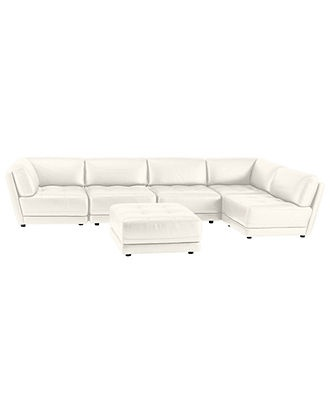 Vice Versa 6 Piece Modular Tufted Leather Sectional Sectionals