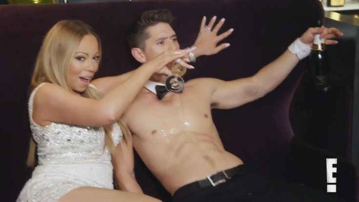 Mariah Carey pours champagne over new boyfriend Bryan Tanakas bare chest on Mariahs World  while she was still engaged!