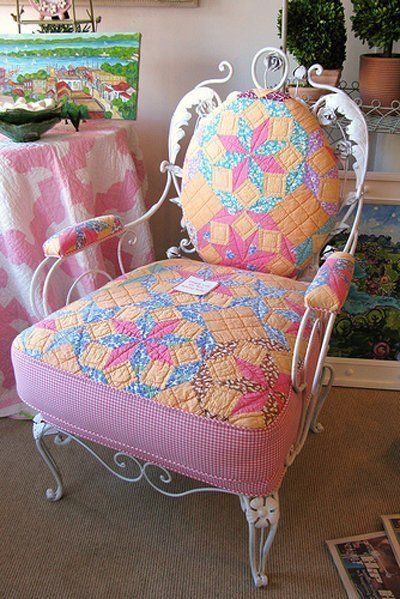 Use an old quilt to reupholster an old chair for a Victorian or country feel.