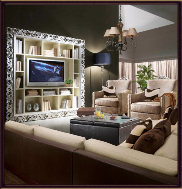 """tv room"" by julissag ❤ liked on Polyvore SD - love the trim around the bookcase making the tv look very classy"