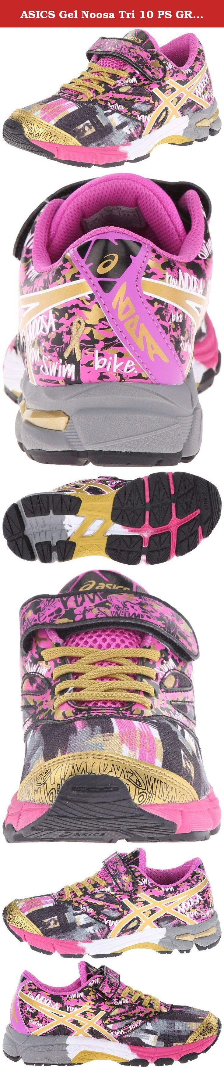 ASICS Gel Noosa Tri 10 PS GR Triathlon Shoe (Toddler/Little Kid), Pink Glow/Gold/Gold Ribbon, 3 M US Little Kid. The ASICS GEL-Noosa Tri 10 PS GR shoes are the perfect running shoes for your kids. Updated with a seamless construction and glow-in-the-dark feature, these shoes provide an excellent design. It features the Rearfoot GEL Cushioning System that offers protection to the heel and offers comfort. These shoes are made using the Trusstic System technology, which borders the midfoot…