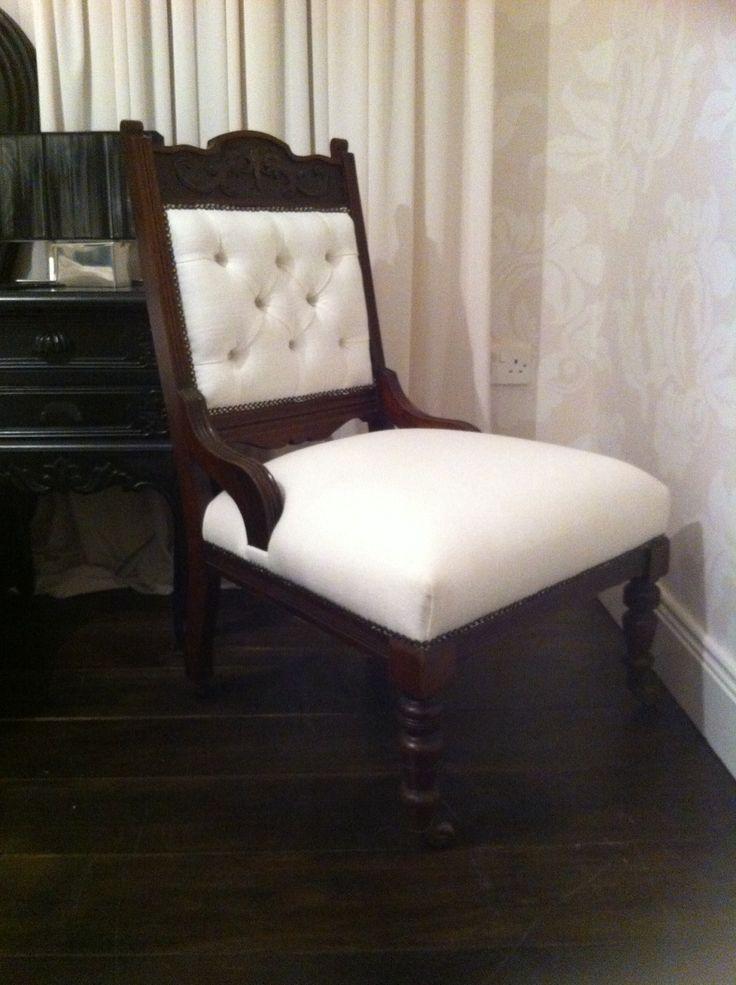 Victorian chair by Carol @ www.facebook.com/paintedfurnitureireland  Covered in Irish Linen