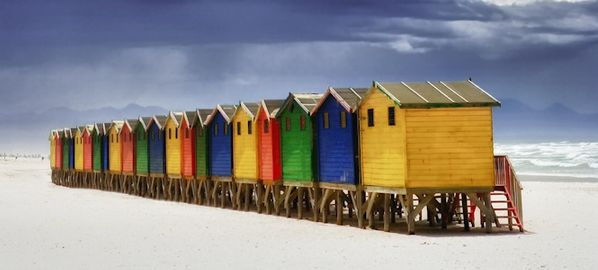 Beach Huts in Muizenberg, Cape Town  http://www.travelandtransitions.com/destinations/destination-advice/africa/cape-town-travel-things-todo/