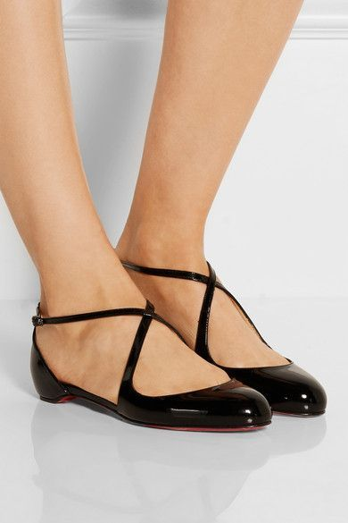 Tendance Chaussures  Christian Louboutin | Balcross patent-leather flats  Tendance & idée Chaussures Femme 2016/2017 Description Slight heel Black patent-leather Buckle-fastening ankle strap Small to size. See Size & Fit notes.